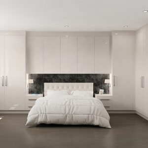 High Gloss Cashmere fitted wardrobes