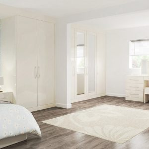 High Gloss Jasmine fitted bedroom