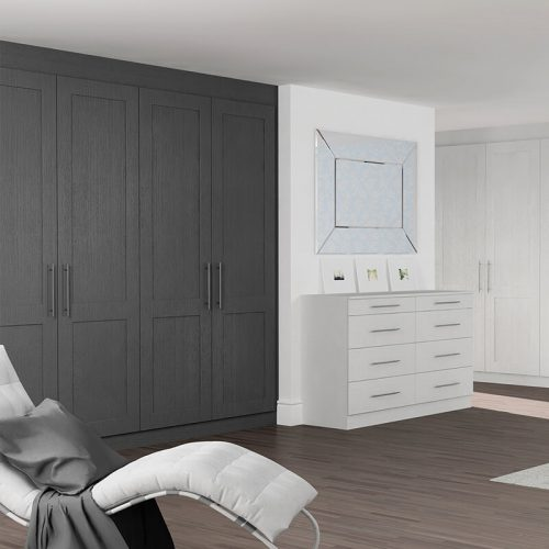 fitted wardrobes - light Grey Oak & Graphite Oak