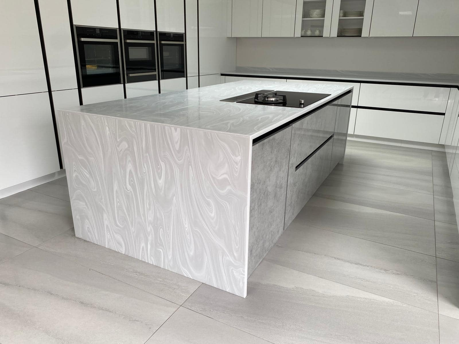 german style grey fitted kitchen