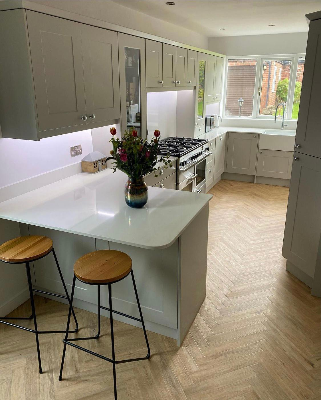 inframe kitchen in farrow and ball pavillion grey